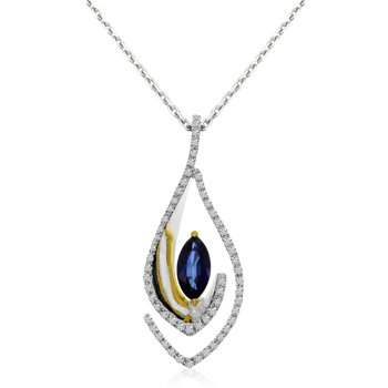 14k Two Toned Gold Marquis Sapphire And Diamond Pendant