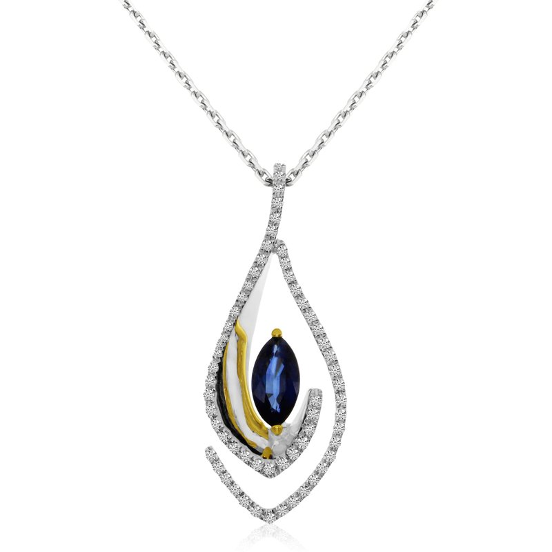Color Merchants 14k Two Toned Gold Marquis Sapphire And Diamond Pendant
