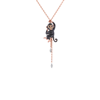 18KT GOLD MONKEY PENDANT WITH BROWN, BLACK AND WHITE DIAMONDS