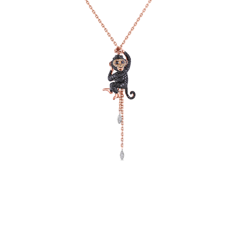 Roberto Coin 18Kt Gold Monkey Pendant With Brown, Black And White Diamonds