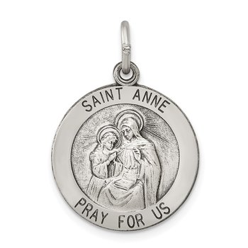 Sterling Silver Antiqued Saint Anne Medal
