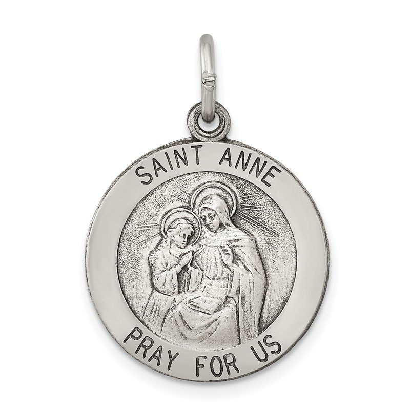 Fine Jewelry by JBD Sterling Silver Antiqued Saint Anne Medal