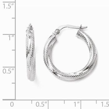 Leslie's 10K White Gold Textured Hinged Hoop Earrings
