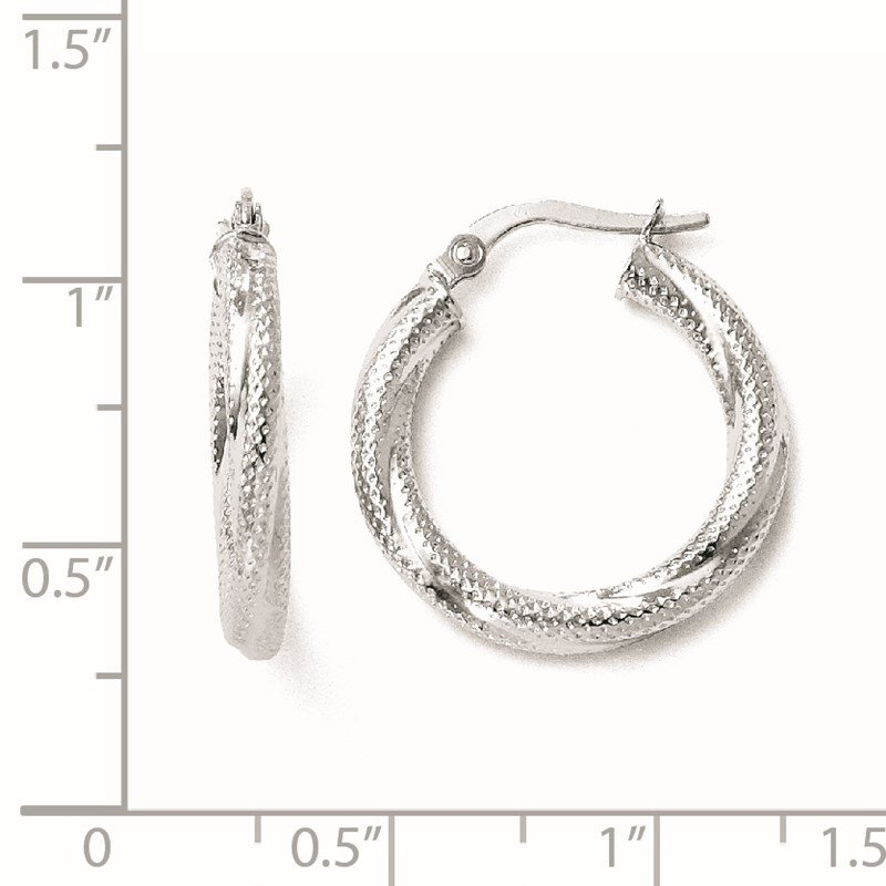 Leslie's Leslie's 10K White Gold Textured Hinged Hoop Earrings