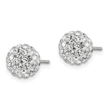 Sterling Silver Rhodium-plated Post 8mm White Czech Crystal Earrings