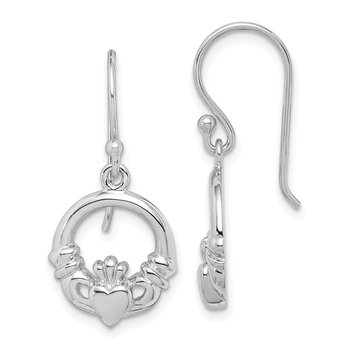 Sterling Silver Rhodium Plated Claddagh Dangle Earrings