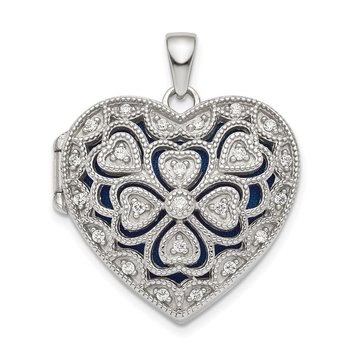 Sterling Silver Rhodium-plated Fancy CZ Heart Locket