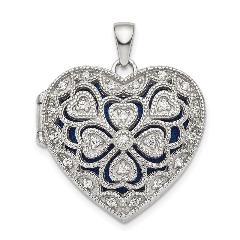 Lester Martin Online Collection Sterling Silver Rhodium-plated Fancy CZ Heart Locket
