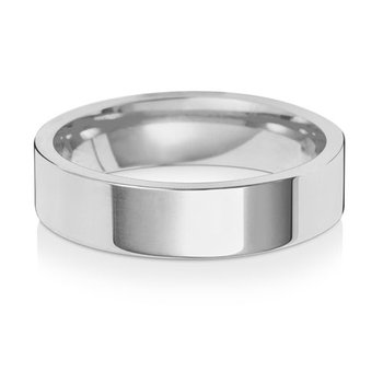 18Ct White Gold 5mm Flat Court Wedding Ring