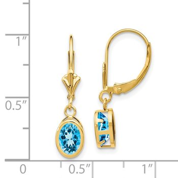 14k 7x5mm Oval Blue Topaz Leverback Earrings
