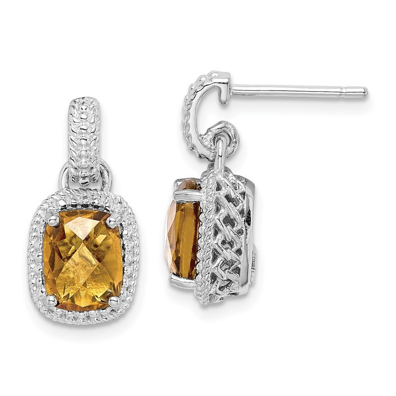 Quality Gold Sterling Silver Rhodium-plated Whiskey Quartz Earrings