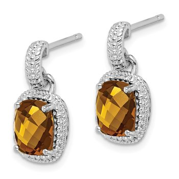 Sterling Silver Rhodium-plated Whiskey Quartz Earrings