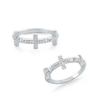Diamond Triple Cross Band Set in 14 Kt. Gold