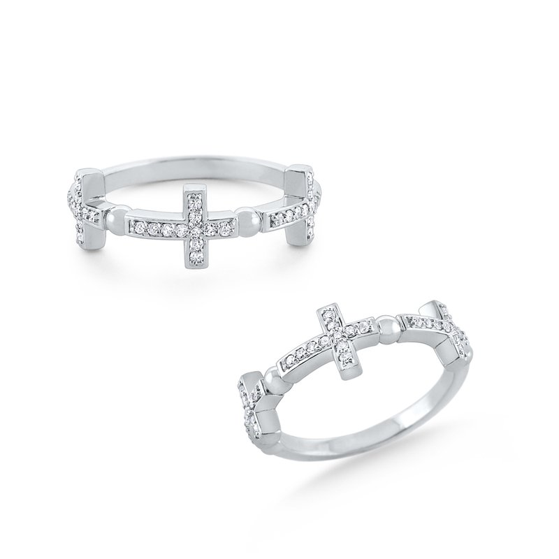 KC Designs Diamond Triple Cross Band Set in 14 Kt. Gold