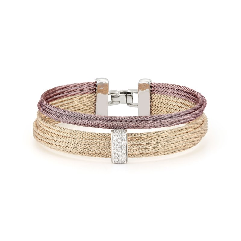 ALOR Carnation & Burgundy Cable Large 2 Row Simple Stack Bracelet with 18kt White Gold & Diamonds