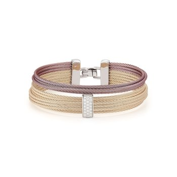 Carnation & Burgundy Cable Large 2 Row Simple Stack Bracelet with 18kt White Gold & Diamonds