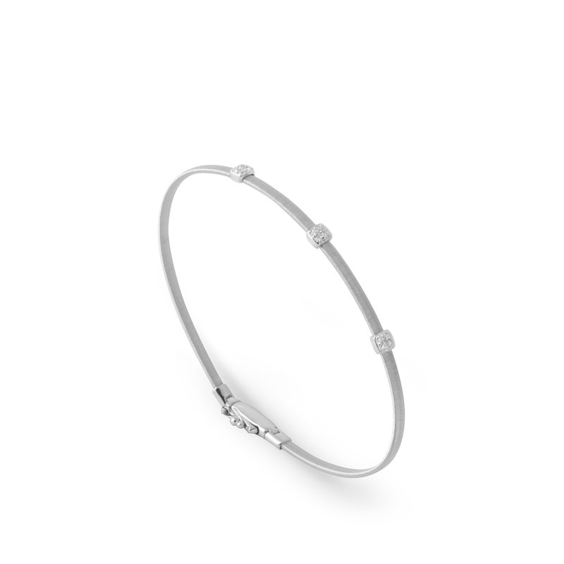 Marco Bicego Masai Small Three Station Diamond Bracelet in White Gold
