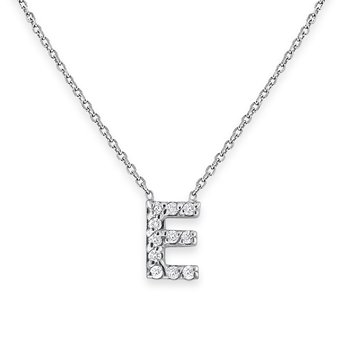 Diamond Bitty Block Initial E Necklace