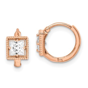 14k Madi K Rose Gold Square CZ Hoop Earrings