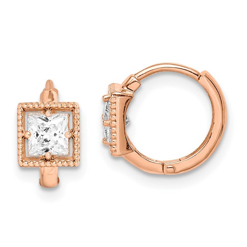 Quality Gold 14k Madi K Rose Gold Square CZ Hoop Earrings