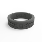 Qalo Women's Laurel Charcoal Silicone Ring