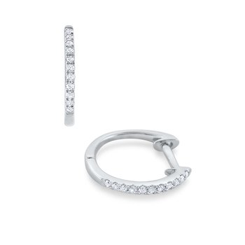 Diamond Mini Hoop Earrings Set in 14Kt. Gold