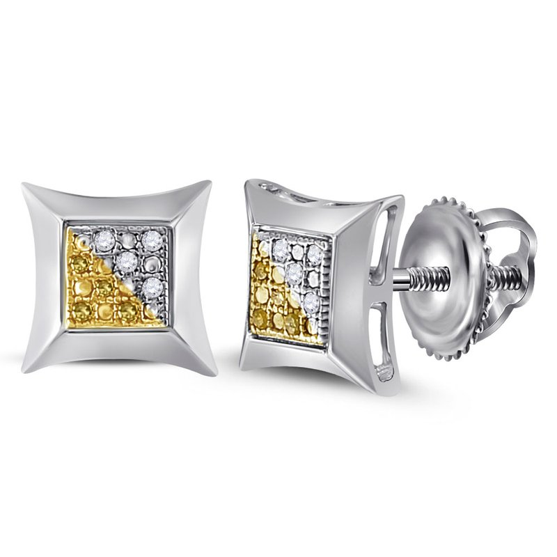 Kingdom Treasures Sterling Silver Unisex Round Color Enhanced Yellow Diamond Stud Earrings 1/20 Cttw