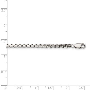 Sterling Silver Antiqued 3.6mm Round Box Chain