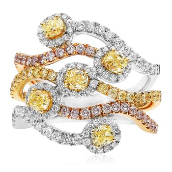 Tri-Colored Flowing Diamond Ring