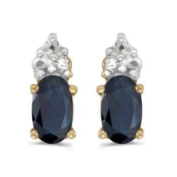 10k Yellow Gold Oval Sapphire Earrings