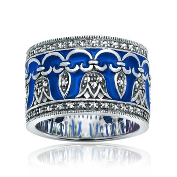 Wide Royal Blue Enamel Ring