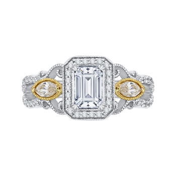 18K Two-Tone Gold Emerald Cut Diamond Halo Engagement Ring (Semi-Mount)