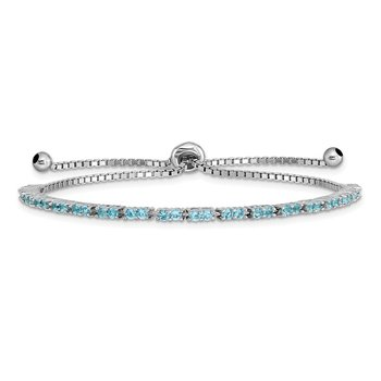 Sterling Silver Rhod-plated December Lt Blue CZ Adjustable Bracelet