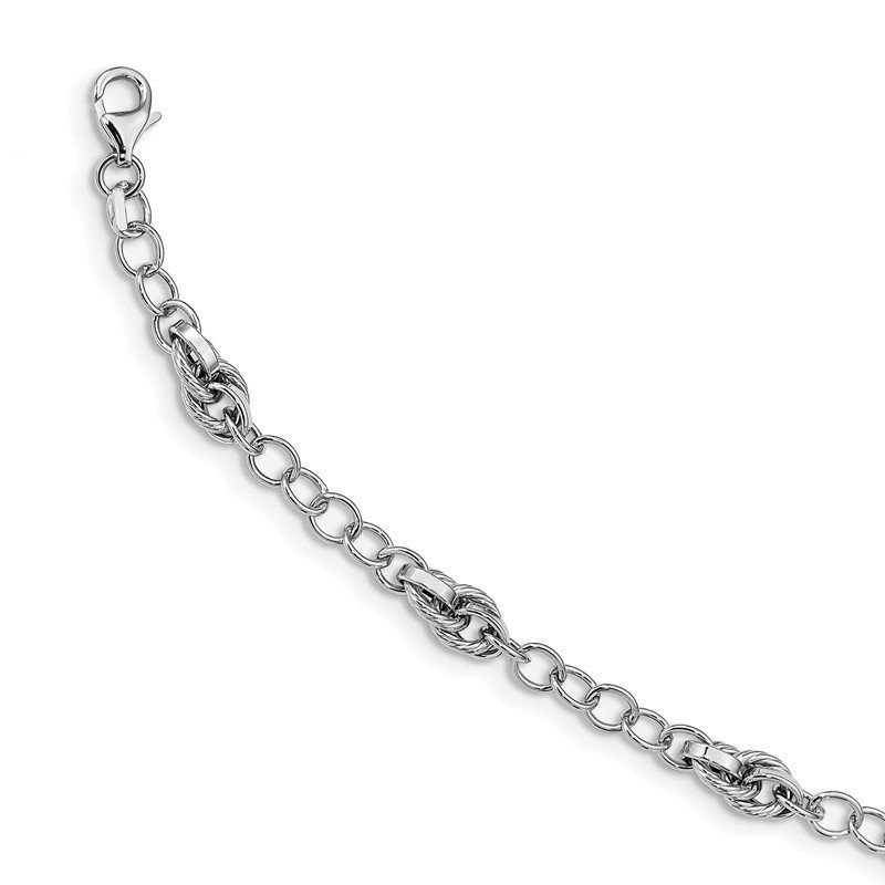 Quality Gold 14K White Gold Polished and Textured Fancy Link Bracelet
