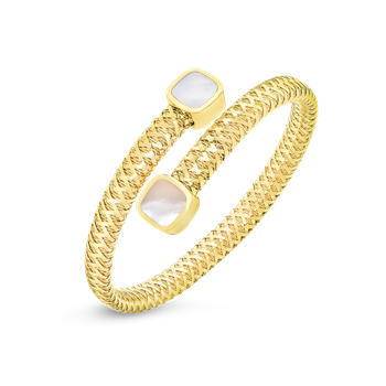 18KT GOLD FLEXIBLE WRAP BANGLE WITH MOTHER OF PEARL