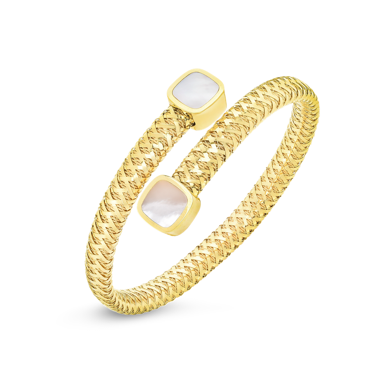 Roberto Coin 18KT GOLD FLEXIBLE WRAP BANGLE WITH MOTHER OF PEARL