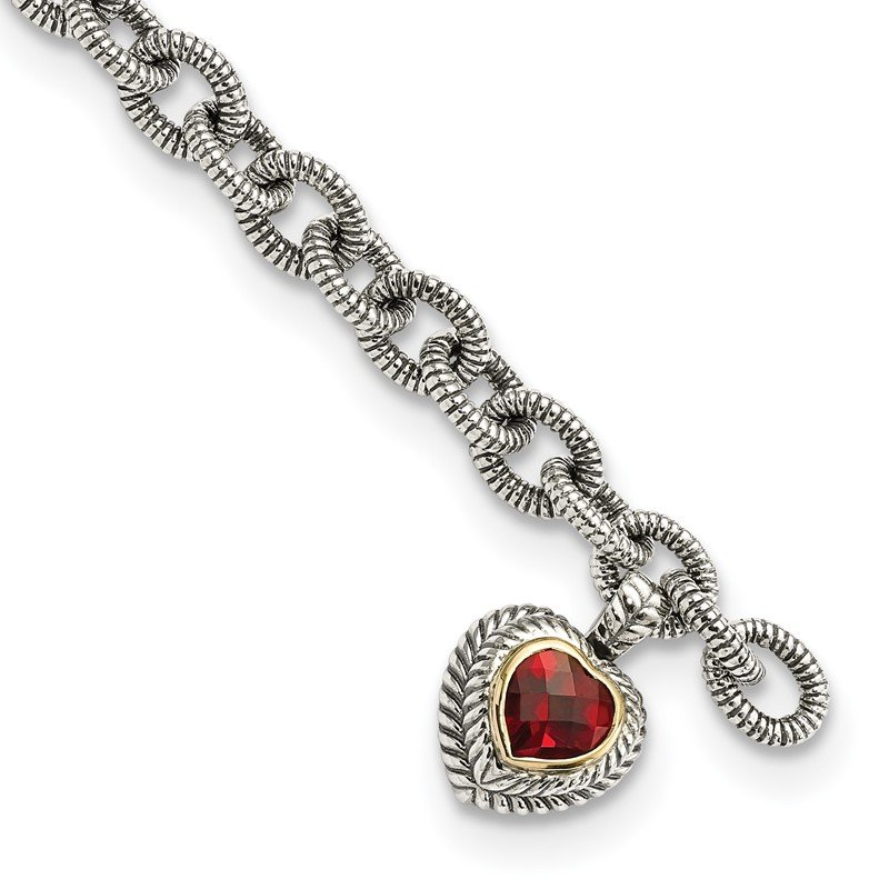 Lester Martin Online Collection Sterling Silver w/14k Garnet Heart Link Bracelet