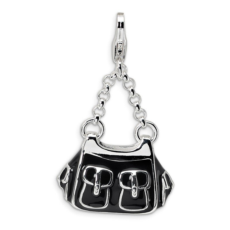 Quality Gold Sterling Silver 3-D Enameled Black Handbag w/Lobster Clasp Charm
