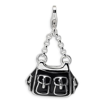 Sterling Silver RH 3-D Enameled Black Handbag w/Lobster Clasp Charm