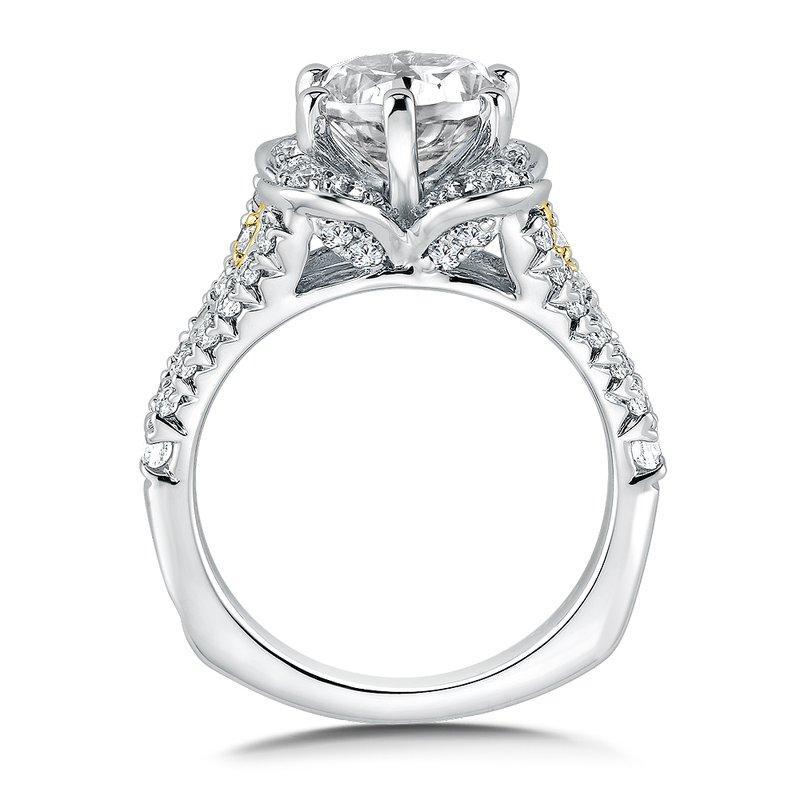 Valina Diamond Halo Engagement Ring Mounting in 14K White/Yellow Gold (.77 ct. tw.)