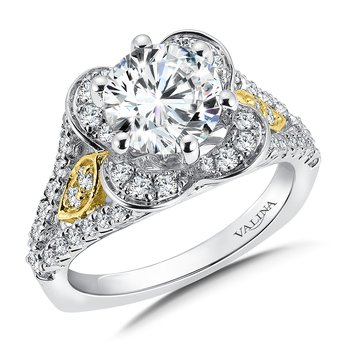 Diamond Halo Engagement Ring Mounting in 14K White/Yellow Gold (.77 ct. tw.)