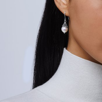 Classic Chain Drop Earring in Silver with Pearl