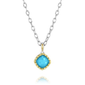 Cushion Cut Clear Quartz over Neolite Turquoise Pendant Necklace
