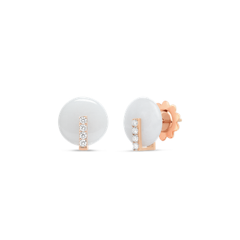 18Kt Gold Disc Earrings With Diamonds And White Jade