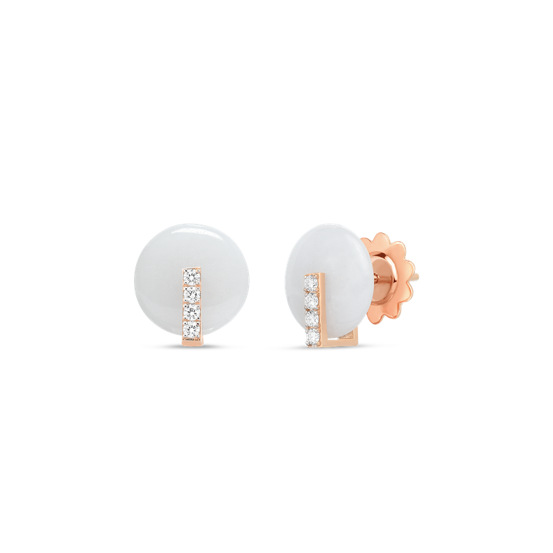 Roberto Coin 18Kt Gold Disc Earrings With Diamonds And White Jade