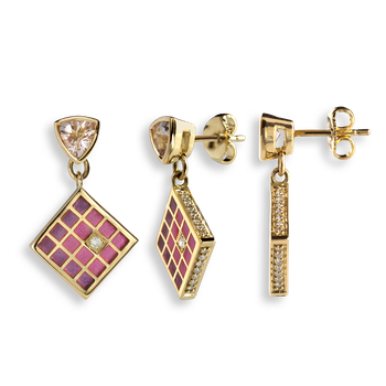 18 Karat Gold Modern Drop Earrings-Pink.  Diamonds, Morganite.