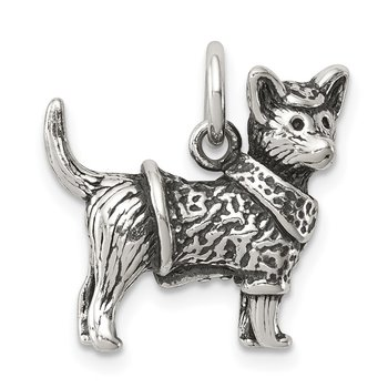 Sterling Silver Antiqued Dog w/Sweater Ch