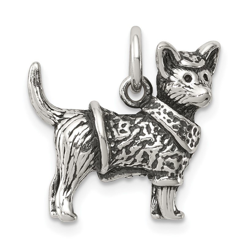 Quality Gold Sterling Silver Antiqued Dog w/Sweater Ch