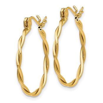 14k Polished Twisted Circle Hoop Earrings
