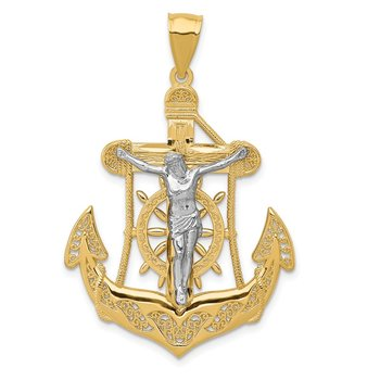 14k Two-tone Mariner's Cross Pendant